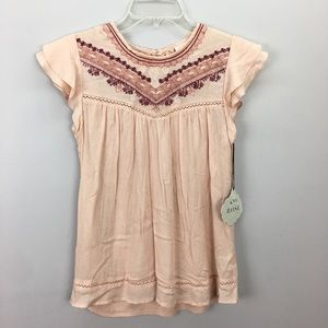 Knox Rose Pink Embroidered Peasant Top New